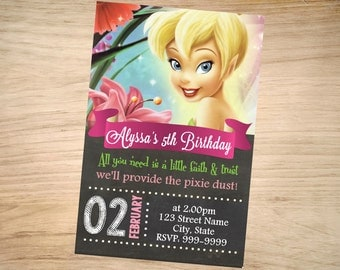 Tinkerbell Birthday Invitation Chalkboard - Tinkerbell Invitation - Tinkerbell Invite - DIGITAL