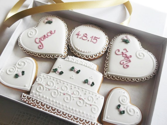 Personalised Wedding Gift Boxes Uk : Personalised Wedding Cookie Gift Box Free UK by CookieArtLondon