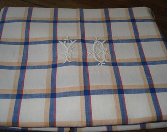 ITEM IS SOLD - Table Linens, Yellow & Blue Check, Tablecloth, Monogrammed.  Dining, Table Set, Table cloth, Picnic cloth, Vintage Party