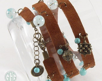 Wrap Bracelet - Suede/Leather Rust-Brown With Beads & Charms (B195)