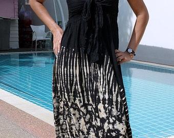 TIE DYE Dress-Gypsy-Boho- Lightweight- Black/Beige