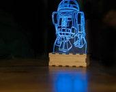 R2-D2 Star wars Lamp, R2D2 night light, R2D2 desk lamp, Star wars desk accessories, star wars baby, astromech droid, star wars desk lamp