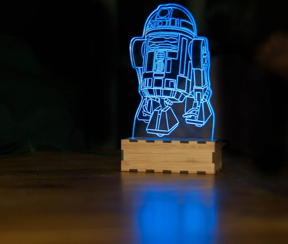 R2-D2 Star Wars Lamp - wood-lamps, table-lamps