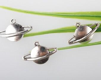 wholesale-15/pcs silver Saturn planet charms pendants astronomy mystical earth sun 13*20mm