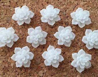 Cute Bright White Push Pins or Magnets- set of 10 - baby shower, bridal shower, wedding thumbtack, hostess gift, pretty thumbtacks