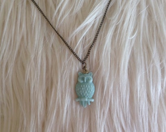 Owl Necklace, Mint Owl, Gift Idea, Birthday Gift, Teenager Gift, Simple Necklace, Mint Necklace