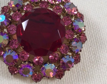 Red and pink rhinestone brooch and round rhinestone pin, circle coat pin, vintage brooch, vintage rhinestone pin, 1950s vintage brooch
