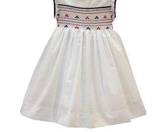 Navy Smocked dress, handmade, for girls.