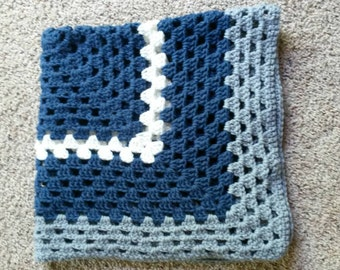 Modern Baby Blanket, Granny Square Baby Blanket, Blue and Gray Baby Blanket, Blue, Gray and White Blanket