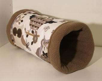 Owls Reinforced Hedgehog Cosy, Guinea Pig Tunnel - Neutral Shades