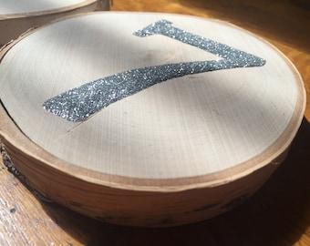 Glitter wood stump table numbers
