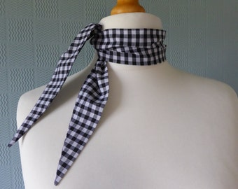 Black and white gingham scarf,  retro vintage style scarf, rockabilly 50'scarf, fifties hair wrap, gingham headband
