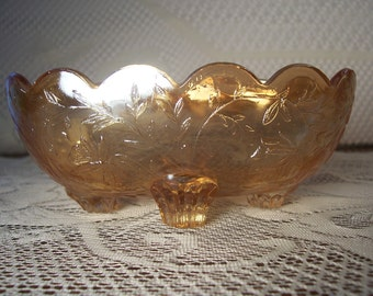 Marigold Footed Carnival Glass Bowl