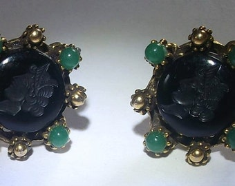 Onyx Glass Cameo Earrings