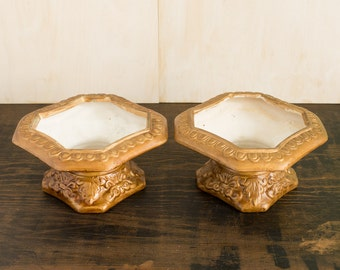 Set of Two Golden Planters