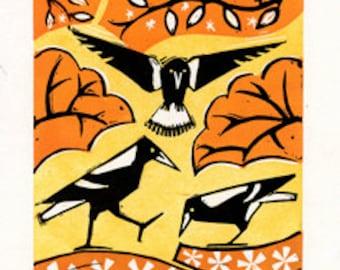 Australian magpies, Linocut Print