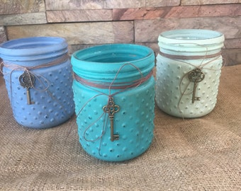 Small Bubble Mason Jar Trio with Charms