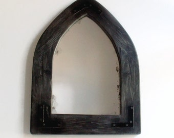 Reclaimed Wood Arched Mirror,  Wall Mirror, Decorative Wall Mirror, Gothic Mirror, Rustic Decor, Wooden Frame Mirror, Distressed Mirror,
