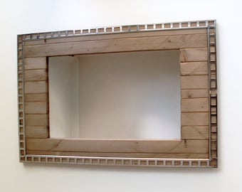 "Industrial Wall Mirror, Wooden Wall Mirror, Handmade Reclaimed Wood Frame, 30"" x 20"",  Wall Mirror, Stainless Steel Frame, Wood Frame"
