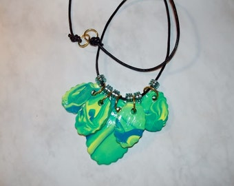 Polymer Clay LAS OLAS - a 5 PENDANT Necklace - One of the Anndora Collections of Polymer Clay Necklaces.
