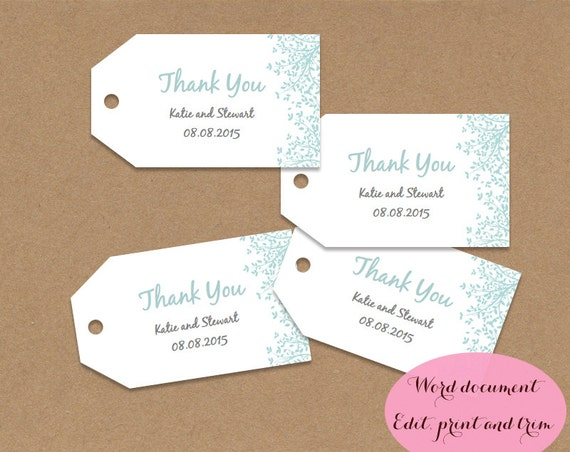 Gift tags wedding favors, editable printable Word doc, aqua blue ...