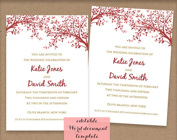 Wedding Invitations Sizes: DIY Small Printable Wedding Invitations. A6 Size By