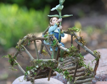 Miniature Bridge, Fairy Garden, Fairy Rickety Bridge Handcrafted by Olive,Includes Retired 2016 Flower Fairy