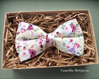 Men's bow tie, boys' bow tie, lilac and burgundy floral bow tie