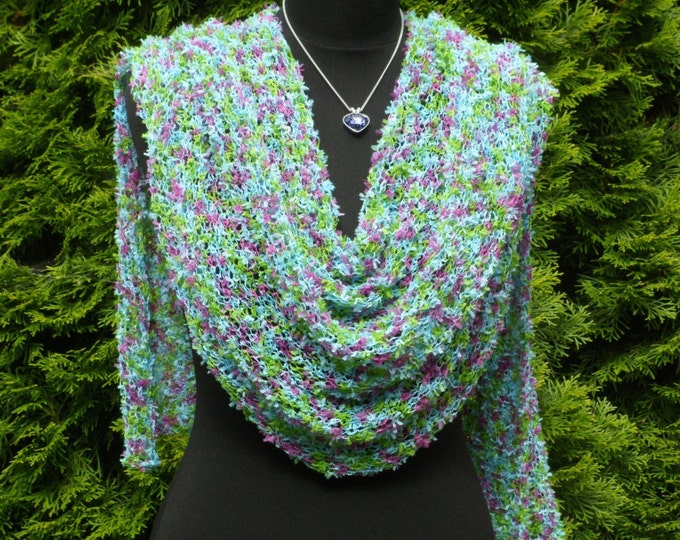 Light weight Poncho, Loose knit weave poncho, Multi Sparkle Turquoise Pink Green poncho, Spring knit wear, Women poncho, Beach cover up