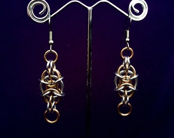 Steampunk Chainmaille Earrings - Bronze & Aluminum - Willik - Chainmail Jewelry