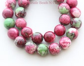 15 inch Strand of 10mm NATURAL FOSSIL Beads - Round Dyed Multicolor GEMSTONE Beads - Instant Ship Worldwide - Usa Seller 0940