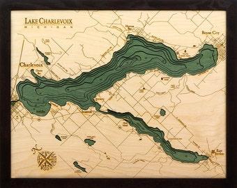 Wood Chart of Lake Charlevoix, Michigan  16x20 - Small