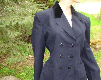 Downton Abbey Style Riding Suit -Navy Wool, Size 14