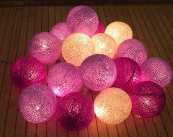 20 x Plum Tone cotton ball string light for decor ,bedroom, wedding, party, garden,lamp,lantern