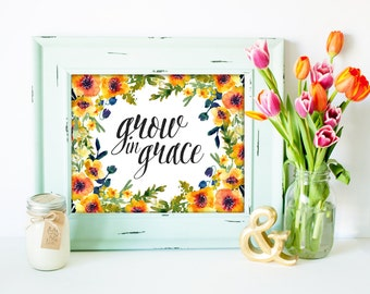 Bible Verse print, printable Scripture wall art decor, INSTANT DOWNLOAD - Grow in Grace