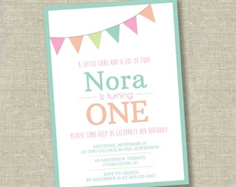 Pennant birthday invitation, banner birthday invitation, 1st birthday invitation, 2nd birthday invitation, 3rd birthday invitation,