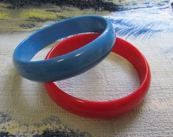 1960s red, and blue plastic bangles, nautical style!