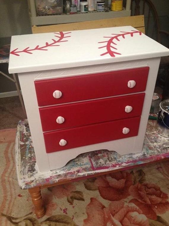 Baseball Theme Nightstand Boys Room Baseball Furniture