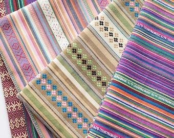colorful stripe fabric native tribal fabric ethnic fabric boho bohemian style tablecloth fabric hand woven upholstery fabric 12 yard