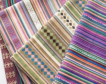 colorful stripe fabric native tribal fabric ethnic fabric boho bohemian style tablecloth fabric hand woven upholstery fabric 12 yard