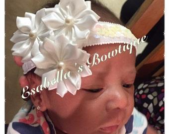 Beautiful white satin rosettes headband