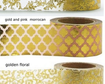 Full Rolls Gold Metallic Foil Washi Tape Gold Toile,Golden Floral,Gold Stripe,Gold Pink Quatrefoil Morrocan