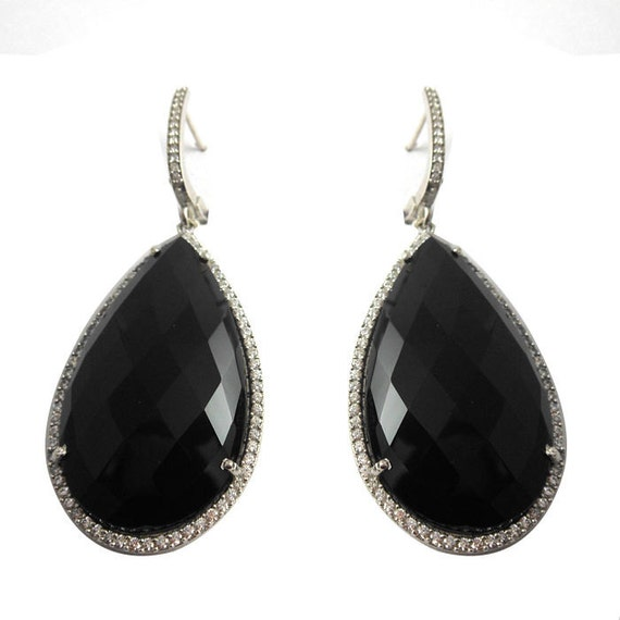 black onyx earrings925 sterling silver by vibgyorcreations