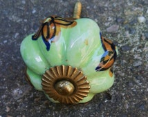 Pale Green and Brown Floral Hand-Painted Ceramic and Brass Drawer / Door Pull / Knob