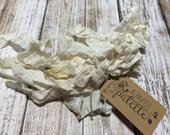 "Seam Binding Crinkle Ribbon, 5 yards 1/2 inch wide ""Vanilla"" cream ivory scrapbook jewelry wedding craft supplies garland wands tassel"