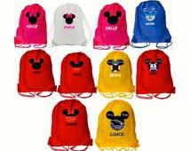 Disney Drawstring Bag Mickey and Minnie Vacation, Party Bags, Disneyland, Disney Cruise