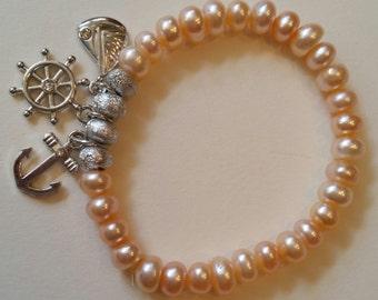 Kids bracelet/ freshwater pearls bracelet/peach pearl bracelet/ silver bracelet/