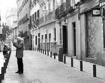Madrid Photograph, Spanish Man Reading the Morning Paper, Large Wall Art