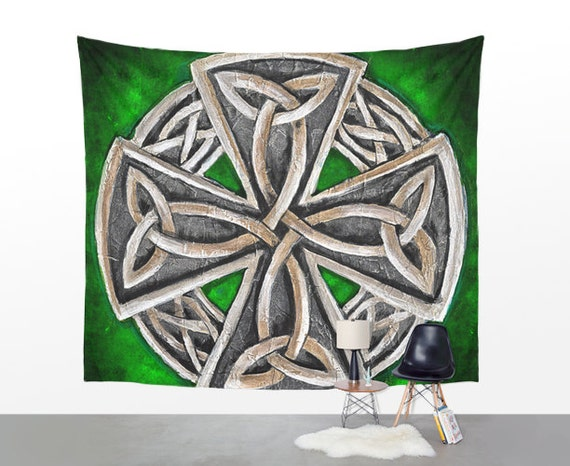 Items similar to wall tapestry celtic wall hanging green for Celtic decorations home