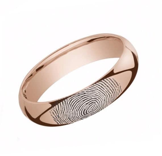 fingerprint wedding band 10k gold by fingerprintbands